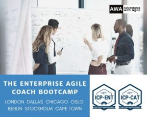 Enterprise Agile Coach Bootcamp from Adventures with Agile delivered in London, Dallas, Chicago, Oslo, Berlin, Stockholm and Cape Town. This course delivers 2 ICAgile certifications ICP-ENT and ICP-CAT